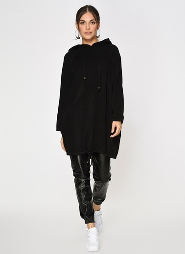 Loves You Eteği Büzgülü Kapüşonlu Triko Tunik Elbise Siyah